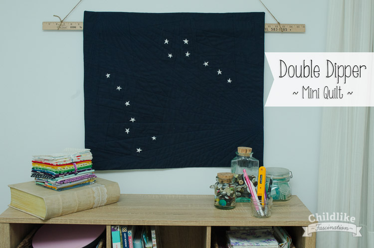 """Double Dipper - Star Mini Quilt by Terri Ann from Childlike Fascination with tiny 1in stars! 25"""" x 22"""""""