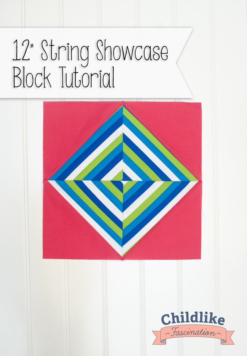 """String Showcase 12"""" Quilt Block Tutorial - great scrap buster and spin on a simple HST layout"""