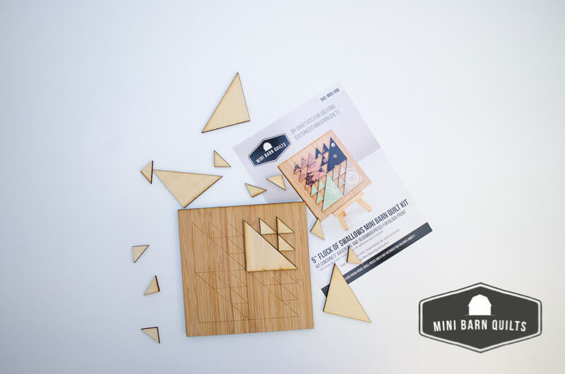 This Flock of Swallows Mini Barn Quilt Kit is Ready to decorate and assemble